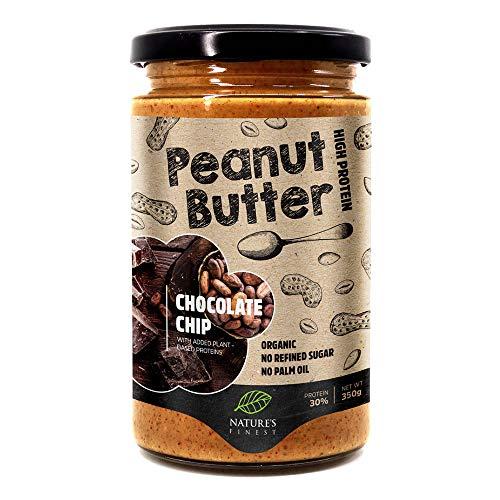 Manteca de cacahuete con pepitas de chocolate 100% orgánica y sabrosa | 350g | Sin azúcar añadido, sin aceite de palma | Crujiente tostado original | Fácil de digerir | dietas Vegana, Paleo y Keto.