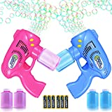 TULADUO 2 Bubble Guns with 4 Bottles Bubble Solution (21.6 oz Total) and 6 AA Batteries, Bubble Gun for Toddlers and Kids, Summer Toy, Outdoors Activity, Birthday and Wedding, Easter
