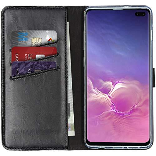 Funda Tipo Libro de Piel auténtica Compatible con iPhone 8/7/6/6S, Compatible con Samsung Galaxy S10 Plus (Fabricado en Piel.), Color Negro