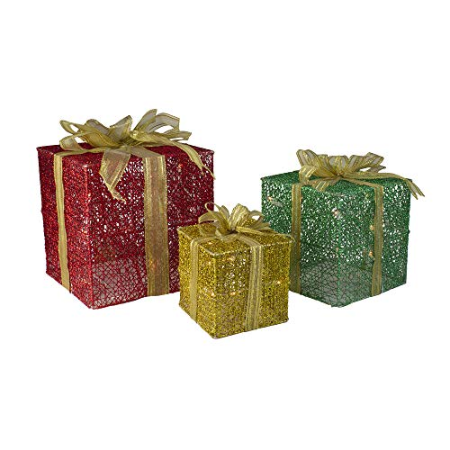 Set of 3 Glittering Gift Box Set Lighted Christmas Outdoor Decoration
