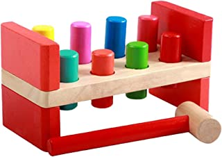 NC Montessori Children Wooden Hammering Bench Toy Pounding Play Set for 1 Year Old Toddler Boy Preschool Presents Game
