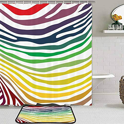 Zebra Print Decor Collection Modern Area Rug Colorful Zebra Stripes Pattern in Cheering Rainbow Color Modern Style Art Carpet Ball Table Red Yellow Green