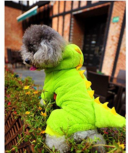 犬服 恐竜パーカ つなぎ ダックス・チワワ・トイプードル ドッグウェア 犬 服 冬 秋冬 オシャレ ペット服 恐竜に変身 犬用防寒着 グリーン (S)