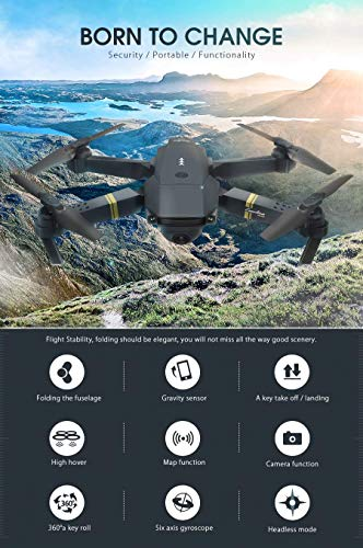 XKJ 2020 New Mini Drone 4K 1080P HD Camera WiFi FPV Air Pressure Altitude Hold Black and Gray Foldable Quadcopter RC Drone Toy (4K Camera)