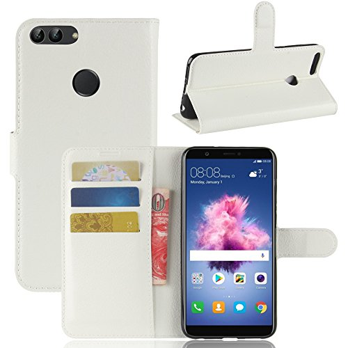 Per Huawei P Smart Custodie e cover,OFU® PU+TPU portafogli in pelle fondina Per Huawei P Smart Telefono Caso+staffa(Huawei P Smart,bianco)