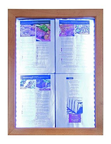 Securit–Pizarra LED Classic cristal pantalla de información, 4x A4(A2), 53x 70x 6cm, marco de Marrón (mcs-4a4-wldb), color madera