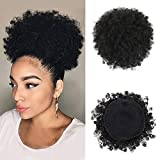 YiTi High Puff Afro Ponytail Drawstring Short Afro Kinky Curly Pony Tail Clip in on Synthetic Curly Hair Bun Made of Kanekalon Fiber Puff Ponytail Wrap Updo Hair Extensions with Clips (Black)