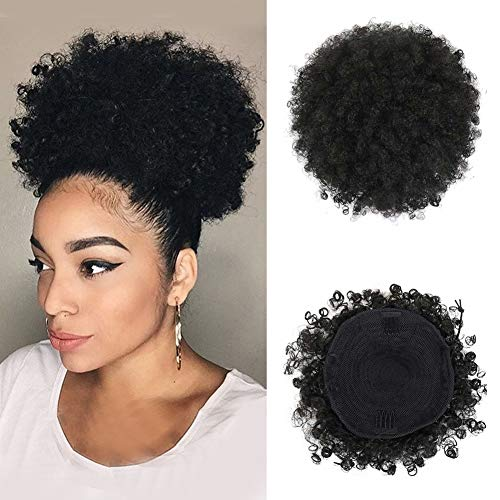 LEOSA High Puff Afro Ponytail Drawstring Short Afro Kinky Curly Pony Tail Clip in on Synthetic Curly Hair Bun Made of Kanekalon Fiber Puff Ponytail Wrap Updo Hair Extensions with Clips (Black)