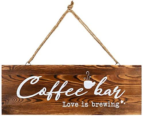 whoaon Coffee Bar Decor Sign Coffee bar Love is Brewing Real Pallet Rustic Wood Sign for Farmhouse product image
