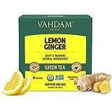 VAHDAM, Orgánica Té Verde Jengibre Y Limón (30 Bolsitas de Té) | Limón + Jengibre + Albahaca Sagrada + Pimienta Negra | Ingredientes 100% Naturales | Bueno para la Digestión | Te Verde Bolsitas