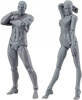 KEISL Maniqui dibujo,Modelo de figura de acción,Modelo Figuras Juego de 2 Piezas Cuerpo Modelos Chan & Kun PVC 13CM,para decoración,pintura,accesorios de fotografía, regalos (gris, hombre + mujer)