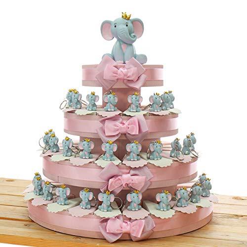 Viale Magico Elefantino Bimba Portachiavi con Corona Torta Bomboniere Nascita Pensierini Primo Compleanno Originali Bimba (Torta da 60 Pezzi)