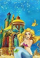 GooEoo 8×10フィートビニール漫画の下で海背景おとぎ話水中城人魚のための誕生日ベビーシャワーフォトスタジオ写真写真背景パーティー家の装飾装飾撮影
