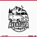 Provinyl Pegatina Furgoneta Aventura Siempre, Varios tamaños a Elegir, para Camper, Caravanas y Autocaravanas. (Negro, 21 x 27cm)