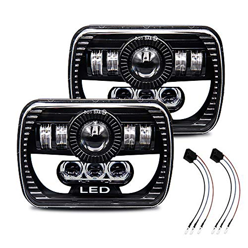 Globled Rectangle 7x6 LED Headlights Projector 5x7 LED DOT Approved Lights High Low Sealed Beam Crystal Headlamp 3 Prong H4 Plug with DRL Position Light Angel Eye Replacement£¬Pack of 2