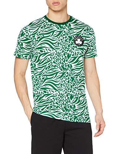 New Era NBA AOP SS tee Boscel Kgr Camiseta de Manga Corta, Hombre, Green, S