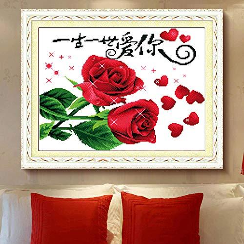 RUIKESI DIY Diamond Painting, 5D Diamond Painting Full of Diamonds, Love You for Life, Couple Bedroom Wedding Celebration Rose Masonry show-4637 Full Drill