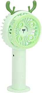 Socobeta Cartoon Mini Fan Draagbaar Duurzaam voor Parken (Groene fawn, Pisa Scheve Toren Type)