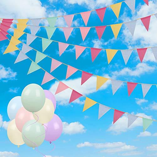 Camelize Wimpelkette Wimpel Banner, 60 Pcs Wimpel Girlande mit 18Pcs Bunte Luftballons für Geburtstag, Hochzeit, Gartenparty-Dekoration
