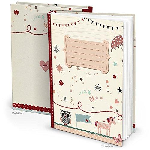 Kinder Tagebuch für Mädchen mit 136 freien Seiten zum Selbst Gestalten - einschreiben, einkleben, ...: Hardcover, DIN A4