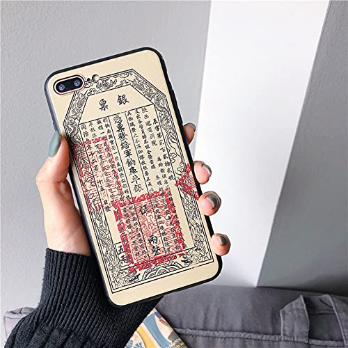 Caja del teléfono del Dinero de Papel Antiguo con Pintura en Relieve 3D para iPhone X XS MAX XR 8 7 6 6s Plus Carcasa Suave de Silicona TPU, 5 Taels, para iPhone 6 6S