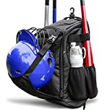 Zoea Baseball Bat Bag Backpack, T-Ball & Softball Equipment & Gear for Youth and Adults | Large Capacity Holds 4 Bats, Helmet, Glove, Shoes | Shoe Compartment & Fence Hook & Helmet Holder (black)