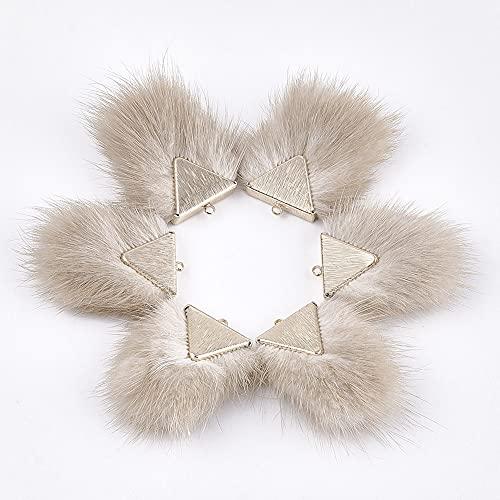 Cheriswelry 10 colgantes de borla de piel de visón de imitación de 40 x 20 mm para joyas, llavero, pendientes, color blanco antiguo