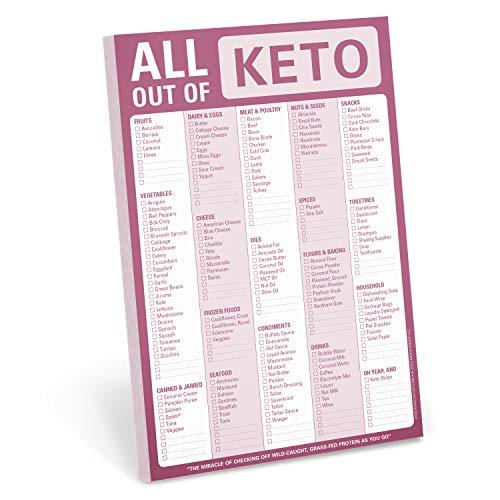 Knock Knock All Out Of Pad (Keto), bloco de notas para lista de compras Keto Diet, 15 x 23 cm