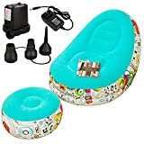 Inflatable Sofa Lounger Blow Up Couch Inflatable Deck Chair with Handhold Air Pump for Indoor Living Room Bedroom, Outdoor Yard Travel Picnic Camping Beach (Blue)