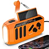 AOMAIS Emergency Radio, 5000mAh Hand Crank Solar Weather Radio, NOAA/AM/FM Portable Radio with LED Flashlight&Reading Lamp, USB Cell Phone Power Charger, SOS Alarm for Home, Camping&Survival