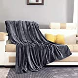 ONME Fleece Blanket Throw Size Dark Gray, Soft Cozy Microfiber Flannel Blankets for Sofa/Chairs/Bed - Lightweight, Warm, Cozy