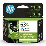 HP 63XL | Ink Cartridge |Tri-color | Works with HP DeskJet 1112, 2100 Series, 3600 Series, HP ENVY 4500 Series, HP OfficeJet 3800 Series, 4600 Series, 5200 Series | F6U63AN