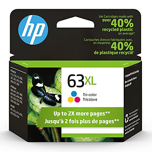 Original HP 63XL Tri-color High-yield Ink Cartridge | Works with HP DeskJet 1112, 2100, 3600 Series, HP ENVY 4500 Series, HP OfficeJet 3800, 4600, 5200 Series | Eligible for Instant Ink | F6U63AN