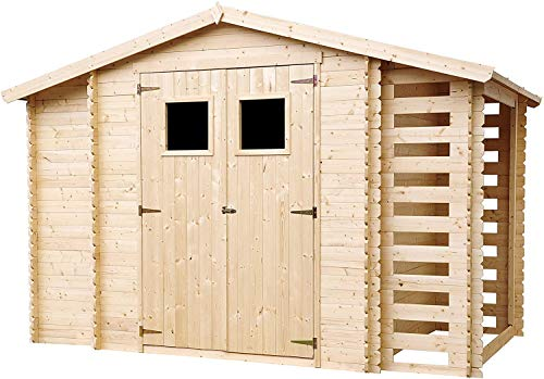 TIMBELA M389 Blockbohlen Gartenhaus aus Massiv-Holz + Kaminholzunterstand - aus 19 mm Kiefern- / Fichtenholz Blockbohlen, 312 x 200 cm/3,53 m²+0,97 m²+0,97 m²