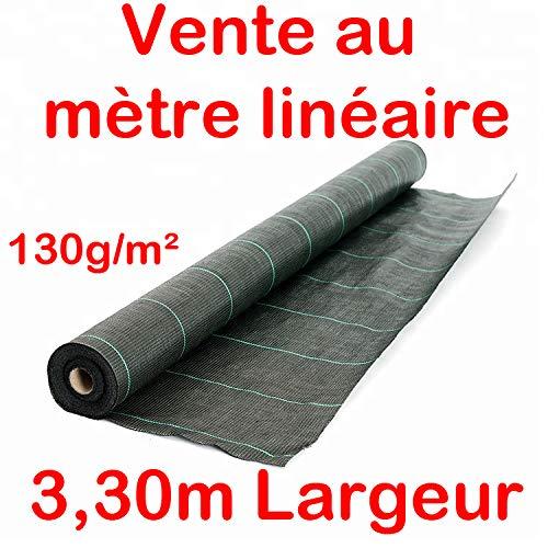 Vente au mètre/Largeur 3,30m / Toile Bache de paillage tissée Anti-Mauvaises Herbes 130g/m2