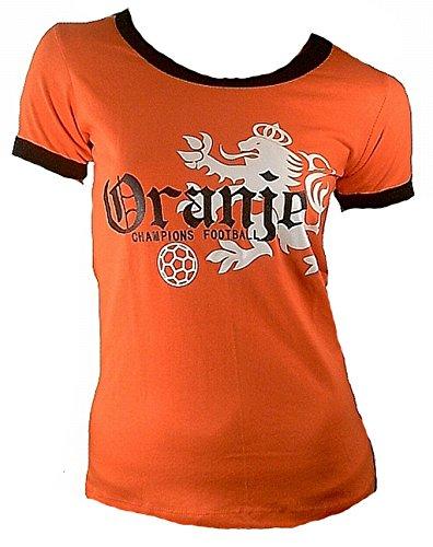TICILA Damen T-Shirt Miss Oranje Holland Dutch Niederlande Netherlands Champion Football Fussball WM EM Designer Fan Tee Trikot Orange S 32/34
