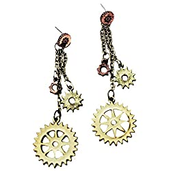 BEICHUANG Punk Mechanical Gear Rudder Ship Wheels Necklace Water Drop Pendant Jewelry