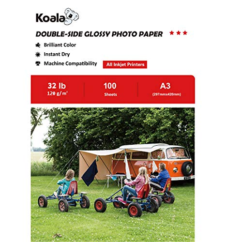 Koala Fotopapier für Tintenstrahldrucker, Doppelseitig, Glänzend, A3, 120 g/m², 100 Blatt. Geeignet zum Drucken von Fotos, Zertifikaten, Broschüren, Flyern, Faltblättern, Grußkarten, Kalendern, Kunst