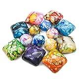 TOAOB 40 Piezas Multicolor Piedras Decorativas Cuentas Acrílicas 20 mm Cuadradas y 14 mm Redondas para Hacer Manualidades de Joyería
