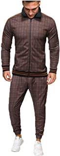 Mens Plaid 2Pc Zipper Tracksuit,Autumn Printed Sweatshirt Top Pants Sets Sports Suit Tracksuit