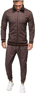 Mens Plaid 2Pc Zipper Tracksuit,Autumn Printed Sweatshirt Top Pants Sets Sports Suit Tracksuit