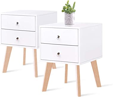TaoHFE White Nightstand, Small Nightstands with 2 Drawer, Side Table for Bedroom Set of 2