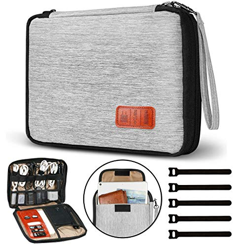 GiBot Elektronik Kabeltasche für Kabel,FlashDisk,USB,Powerbank,iPad Mini,Double Layer(Grau Groß)