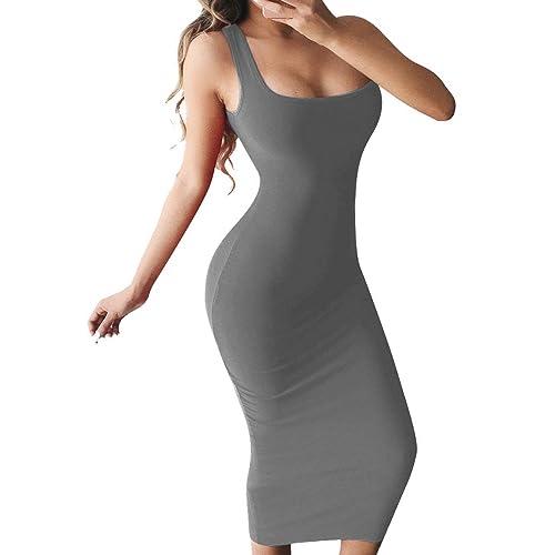 9308895e15 BEAGIMEG Women s Basic Tank Bodycon Sleeveless Solid Casual Long Dress