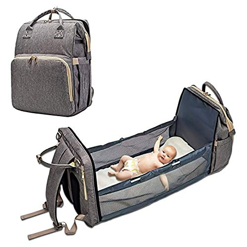 CUNXIA Baby Travel Cot, 3 in 1 Travel Cot Backpacks Diaper Changing Bag Foldable Baby Changing Table,Foldable Baby Cot Bed,Suitable for Travel (0-12 Months) (Grey)