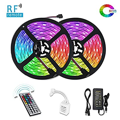 LUNSY LED Strip Lights Sync to Music, 32.8ft/ 10m RGB LED Light Strip 300 LED Lights? SMD 5050 Waterproof Flexible Strip Lights with IR Controller