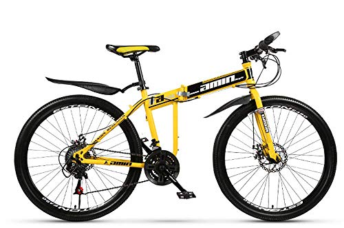 KAUTO 26 inch Mountain Bike, Folding MTB 26'' 21-30 Speed Gearshift, Fork Suspension, Boys Bike & Men's Bike Dual Disc Brakes High-Carbon Steel Outdoors Mountain Bike C 30 Speed