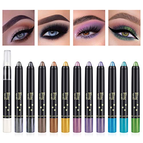 Ownest 12 Colors Glitter Eyeshadow Stick,Pearl Eyeshadow Pen Set Shimmer Shiny Eyeshadow Stick Eyeshadow Glitter Pigmented Eyeshadow Makeup Long Lasting