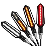 LiNKFOR 4 pcs 24 LED Luz Señal de Giro Moto Intermitentes Flash Luz LED Indicador Laterales Impermeable Motocicleta Indicador de Señal Modo Corriente Luz Ámbar/Modo Luz de Freno Rojo