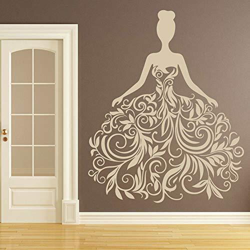 HNXDP Mode Frau Hochzeitskleid Brautkleid Party Wandaufkleber Vinyl Home Decor Fenster Aufkleber Selbstklebendes Wandbild Geschenk A455 57x70cm